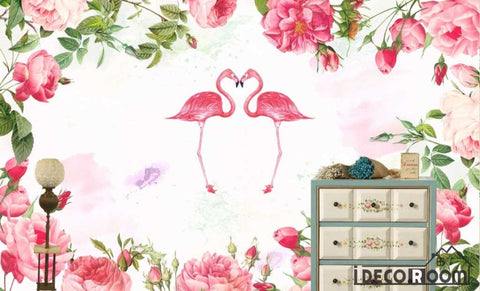 Image of Nordic elegant  rose floral wallpaper wall murals IDCWP-HL-000028