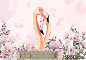 Nordic minimalism watercolor flamingo floral wallpaper wall murals IDCWP-HL-000048