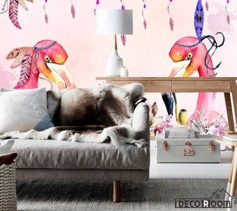 Nordic watercolor flamingo floral wallpaper wall murals IDCWP-HL-000049