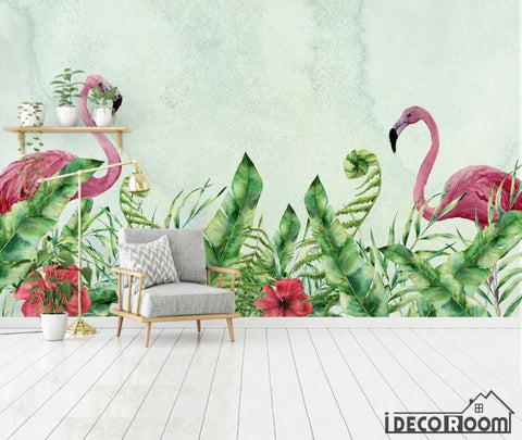 Image of European tropical flamingo plant leaves wallpaper wall murals IDCWP-HL-000064