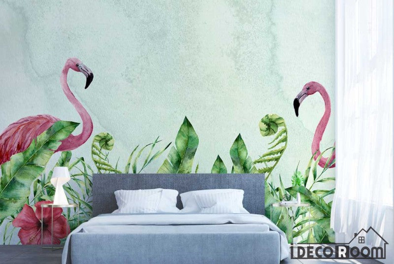 European tropical flamingo plant leaves wallpaper wall murals IDCWP-HL-000064