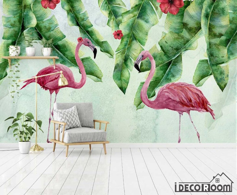 European tropical flamingo plant leaves wallpaper wall murals IDCWP-HL-000065