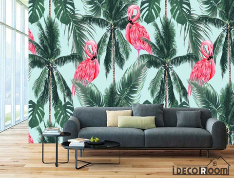 Image of Nordic abstract style flamingo coco decorative wallpaper wall murals IDCWP-HL-000071