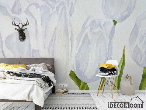 Simple floral white Nordic wallpaper wall murals IDCWP-HL-000091