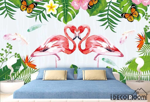 Image of Delicate flamingo plant wallpaper wall murals IDCWP-HL-000107