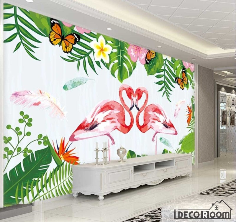 Delicate flamingo plant wallpaper wall murals IDCWP-HL-000107