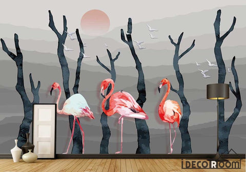Image of Modern Abstract Ink Painting Trunk Flamingo wallpaper wall murals IDCWP-HL-000136
