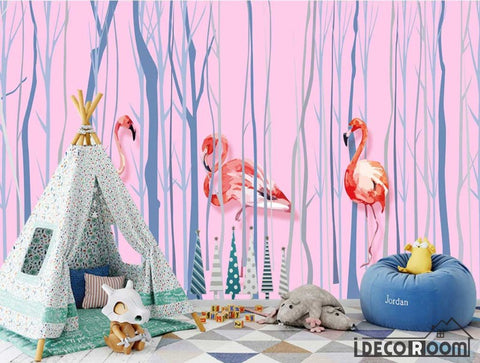 minimalist abstract trunk flamingo wallpaper wall murals IDCWP-HL-000141