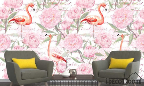 Nordic Floral Flamingo  wallpaper wall murals IDCWP-HL-000144