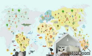 cartoon animal map kindergarten park wallpaper wall murals IDCWP-HL-000152