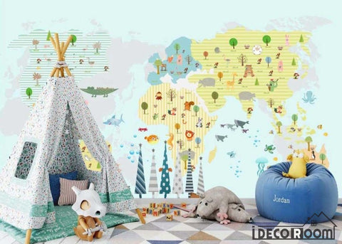 Image of cartoon animal map kindergarten park wallpaper wall murals IDCWP-HL-000152