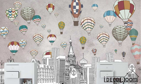 Image of Nordic  geometric city building hot air balloon wallpaper wall murals IDCWP-HL-000156