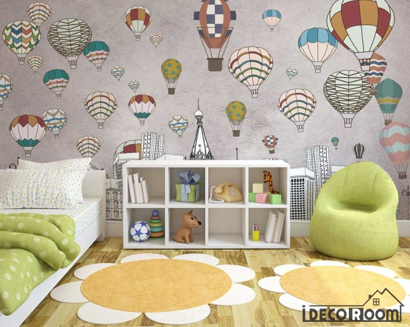 Nordic  geometric city building hot air balloon wallpaper wall murals IDCWP-HL-000156