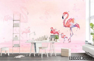 3D modern fashion minimalist flamingo wallpaper wall murals IDCWP-HL-000234