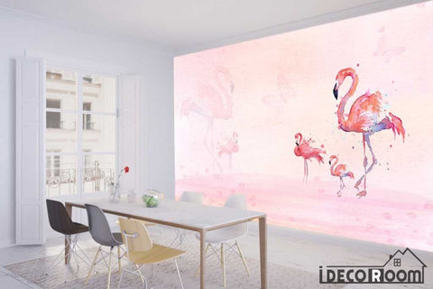 Image of 3D modern fashion minimalist flamingo wallpaper wall murals IDCWP-HL-000234