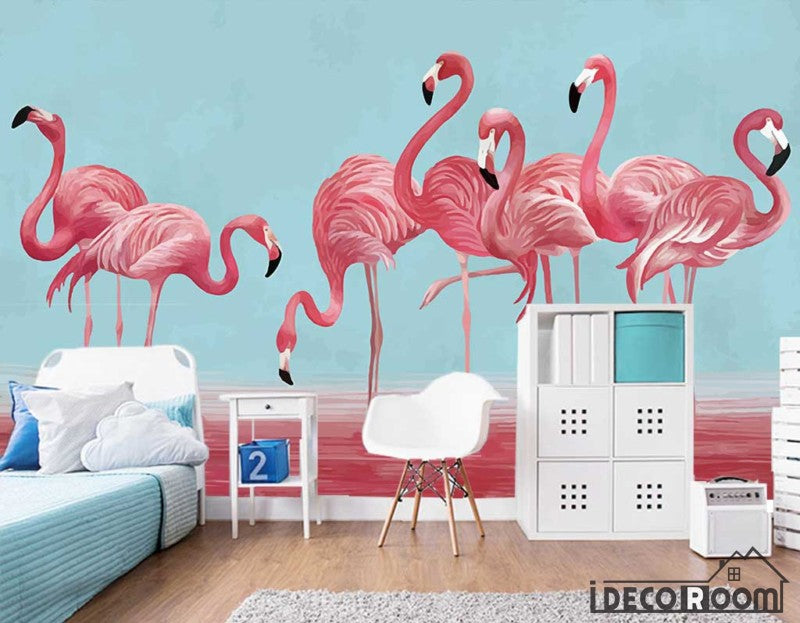 Nordic character watercolor flamingos wallpaper wall murals IDCWP-HL-000240