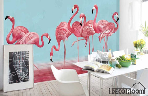 Image of Nordic character watercolor flamingos wallpaper wall murals IDCWP-HL-000240