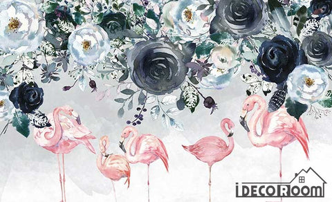 Image of Nordic minimalist flamingo rose floral wallpaper wall murals IDCWP-HL-000295