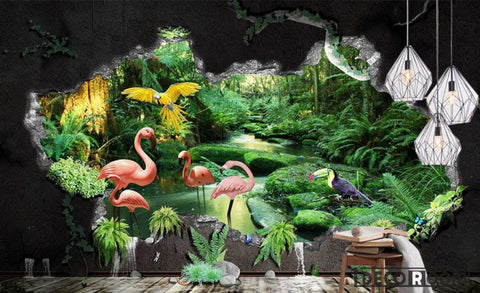 seaside tropical plants flamingo landscape wallpaper wall murals IDCWP-HL-000296