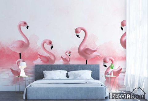 Image of Modern Minimalist 3D Flamingo wallpaper wall murals IDCWP-HL-000324