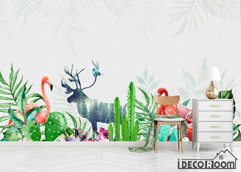 Image of Modern tropical plant flamingo wallpaper wall murals IDCWP-HL-000325