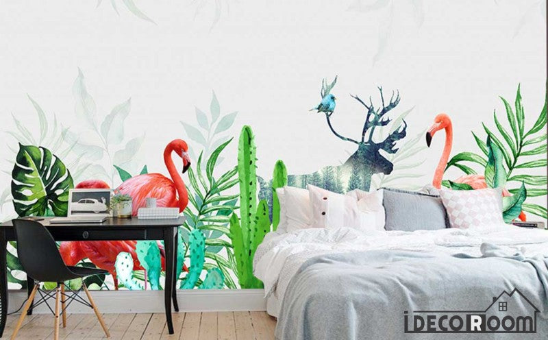 Modern tropical plant flamingo wallpaper wall murals IDCWP-HL-000325