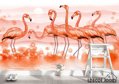Image of Modern minimalist  flamingo Nordic wallpaper wall murals IDCWP-HL-000328