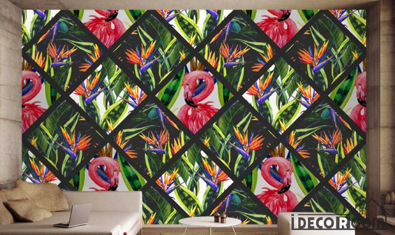 Nordic checkered green leaf flamingo  wallpaper wall murals IDCWP-HL-000335