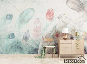 Modern minimalist abstract feather Nordic wallpaper wall murals IDCWP-HL-000343
