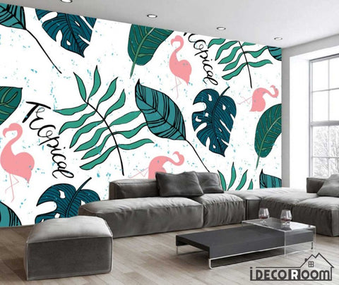 Image of Modern banana leaf flamingo decorative wallpaper wall murals IDCWP-HL-000357