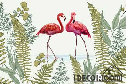 Image of American tropical rainforest flamingo wallpaper wall murals IDCWP-HL-000369