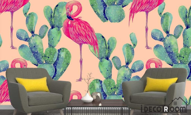 Nordic Cactus Flamingo  wallpaper wall murals IDCWP-HL-000375