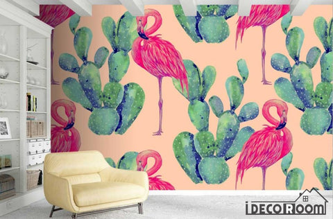 Image of Nordic Cactus Flamingo  wallpaper wall murals IDCWP-HL-000375