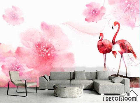 Nordic flamingo plants animals floral wallpaper wall muralss IDCWP-HL-000379