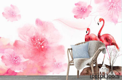 Image of Nordic flamingo plants animals floral wallpaper wall muralss IDCWP-HL-000379