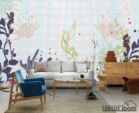 Image of garden plants flower simple wallpaper wall murals IDCWP-HL-000384