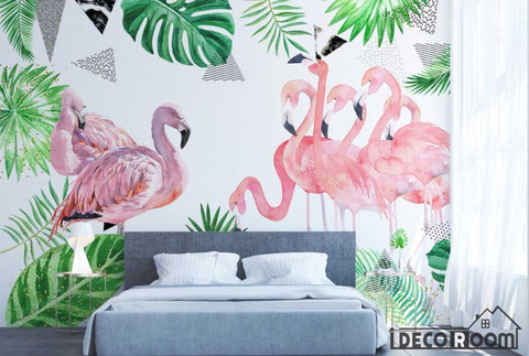 Image of Nordic green leaf flamingo abstract wallpaper wall murals IDCWP-HL-000396