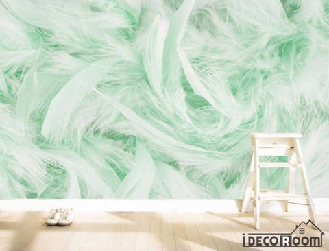 Image of Beautiful green feather wallpaper wall murals IDCWP-HL-000403