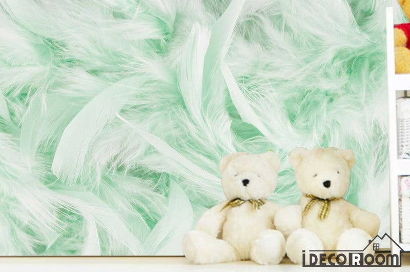 Beautiful green feather wallpaper wall murals IDCWP-HL-000403