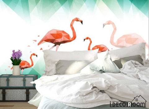 Image of Nordic abstract flamingo wallpaper wall murals IDCWP-HL-000405