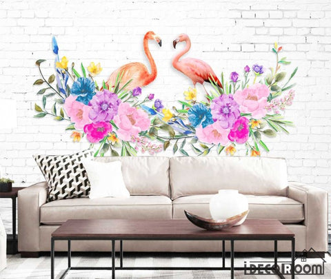 Image of Love flamingo  flowers Nordic wallpaper wall murals IDCWP-HL-000422