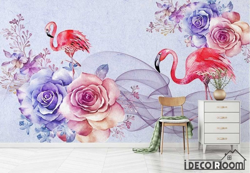 romantic watercolor flowers Flamingo wallpaper wall murals IDCWP-HL-000424