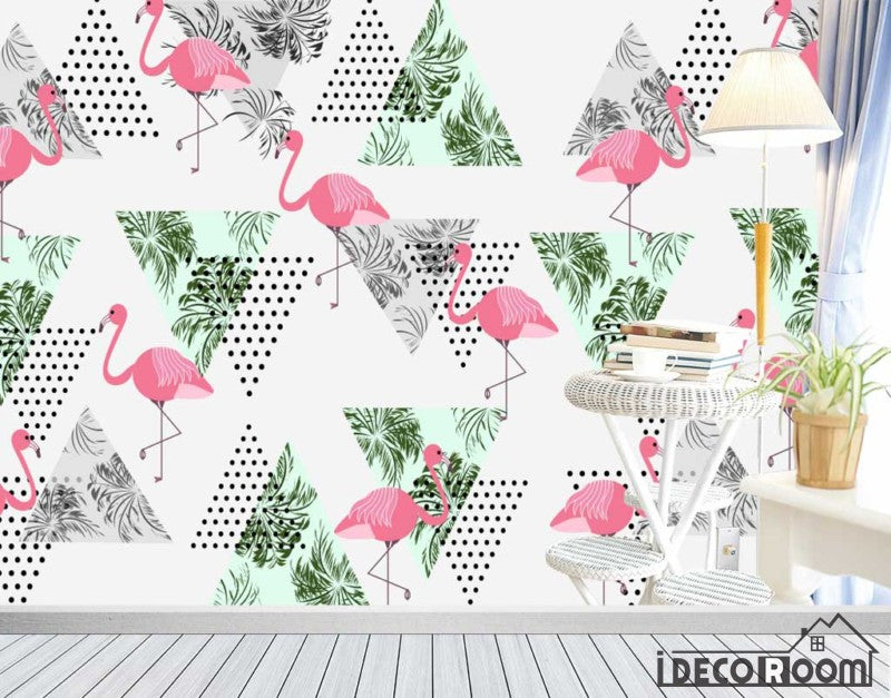 Nordic abstract banana leaf flamingo wallpaper wall murals IDCWP-HL-000436