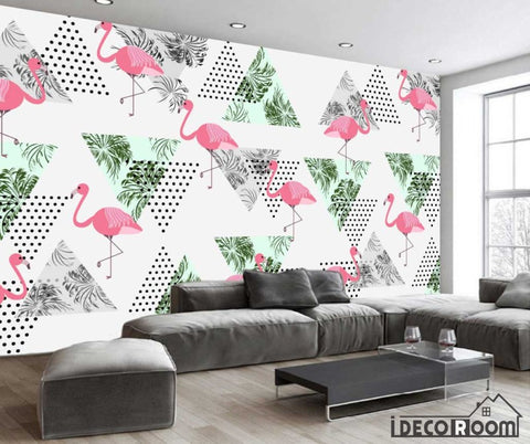 Image of Nordic abstract banana leaf flamingo wallpaper wall murals IDCWP-HL-000436