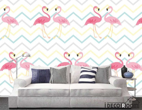 Image of Nordic minimalistic abstract flamingo wallpaper wall murals IDCWP-HL-000438