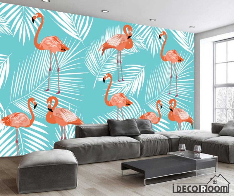 Nordic Abstract Flamingo Banana Leaf Feather Wallpaper