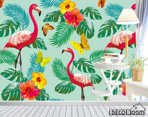 Nordic abstract flamingo banana leaf floral wallpaper wall murals IDCWP-HL-000443