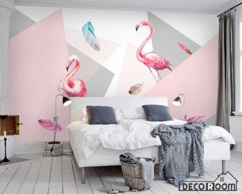 Image of Modern minimalist flamingo wallpaper wall murals IDCWP-HL-000450