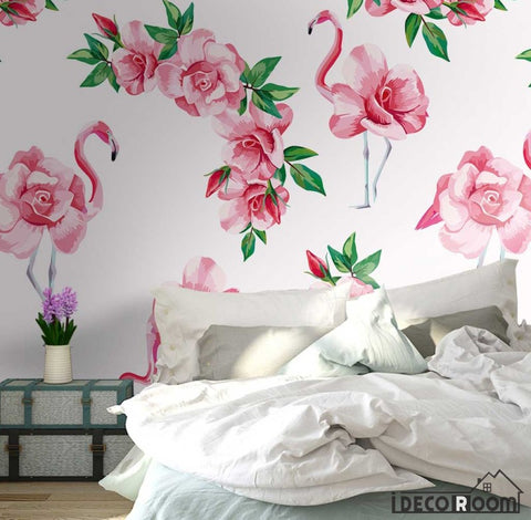 Image of Modern minimalist watercolor flamingo flowers wallpaper wall murals IDCWP-HL-000452