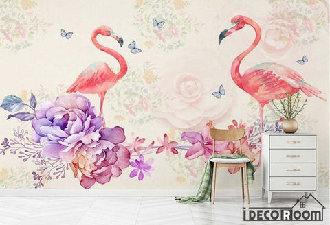 Image of Nordic romantic watercolor flowers Flamingo wallpaper wall murals IDCWP-HL-000460